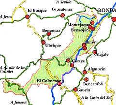Sierra De Grazalema Mapa.Pueblos Blancos