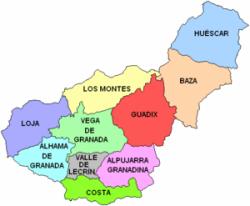 Resultado de imagen de mapa de granada y su provincia