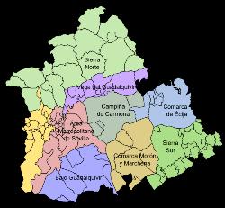 Pueblos De Sevilla Mapa.Provincia De Sevilla